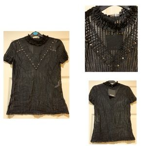 NWT Zara T-shirt With Lace and Studs